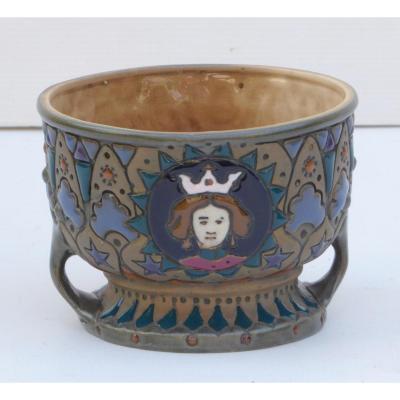 Amphora, Austria, Coupe Céramique Art Nouveau, Signée