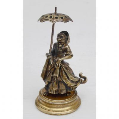 Singesse Elégante: Pique Cure Dents-caricature En Bronze, Fin XIXe