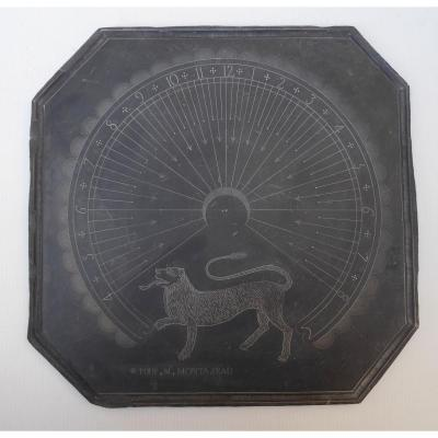 Slate Wall Sundial, Engraved Lion, 19thc Mastery Work