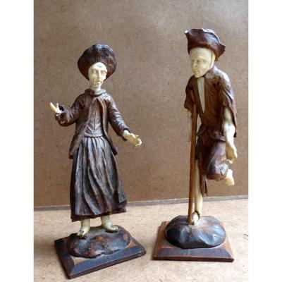 Couple De Gueux, Sculptures Bois Et Os, d'Après Simon Troger, XVIIIe, 35