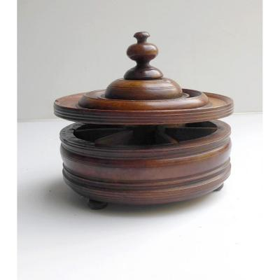 Spice Box, 18thc Turned  Wood, Primitive, Rhone Valley