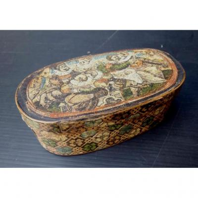 Primitive Alpine Mountains, 18th Century, Oval Confectionery Wood Box