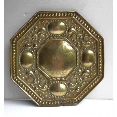 Large Reflector Of Sconce, Engraved Brass, 17th Century, Flemmish
