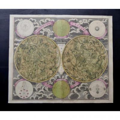 Planisphère Céleste De  Georg Christoph Eimmart, 1690, Couleurs d'époque
