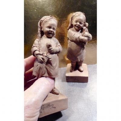 Graillon, (musée De Dieppe), XIXe, Chagrin d'Enfant: 2 Terre Cuites Signées