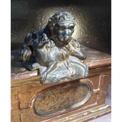 Renaissance Bronze Lion , Brut Of Casting, 16th Or 17th,