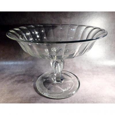Coupe De Confiseur Cristal Taillé, Baccarat, XIXe, Pied à Goutte d'Air,