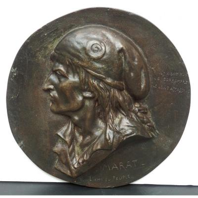 Grand Médaillon Bronze, Marat, l'Ami Du Peuple, Brisson, Sculpteur  1868