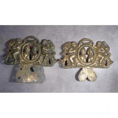 2 Attaches De Tableaux, Bronze, XVIIIe, Scènes De Mariage