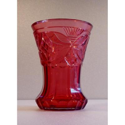 Bohemian Mid 1800 Cranberry Cut Tumbler