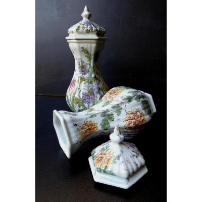 Nove, Near Venice, Pair Of Covered Jars, 1900', Signed