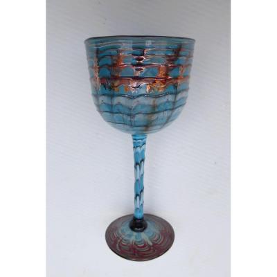 Precious Blown Glass Enamelled Relief, Venice? Art Deco