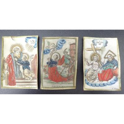 3 Images Pieuses, De F. Hubert, Sur Parchemin Rehaussé, XVIIIe, Daté, Annoté