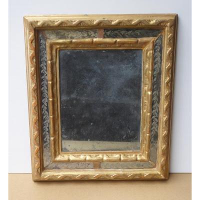 Miroir Provençal,  Par Closes De Verre Gravé, Argenté, Bois Doré, Ep. Louis XIV