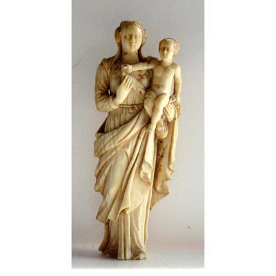 Vierge à l'Enfant, Ivoire De Dieppe Du XVIIe Siècle
