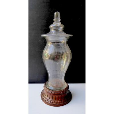 Top Apothecary Covered Jar, Cut Glass Nineteenth,