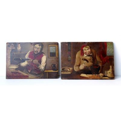 2 Caricatures Gastronomiques Et Populaires, XIXe, Huile S. Panneau
