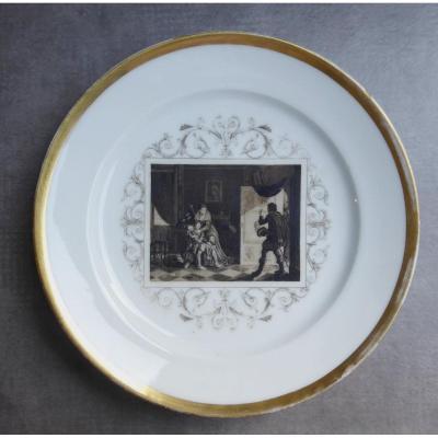 Legros d'Anizy: Une Rareté,  Assiette Légitimiste, 1820, Porcelaine De Paris: