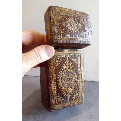 Étui à Livre Précieux, Boîte Époque Louis XIV Cuir Doré
