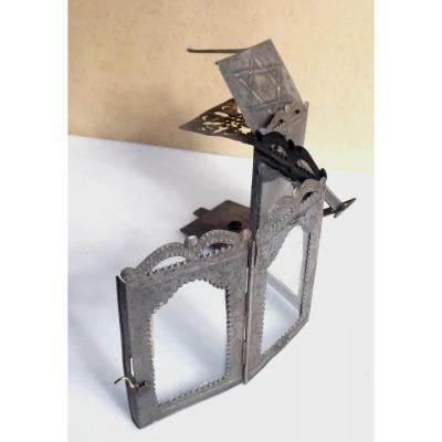 18th Century Folding Lantern,  Cut Iron, Stamped  Of  David Star