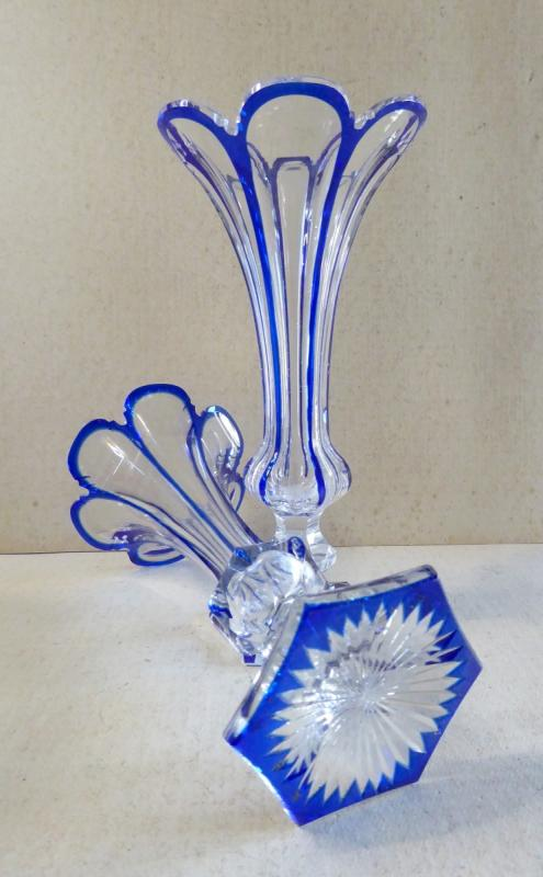 Crystal, Baccarat, Blue Lined, Pair Of Cornet Vases, 19th Century-photo-2