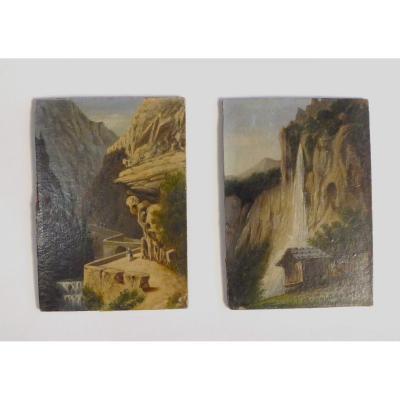 Paire De Paysages Miniature Suisses XIXe: Huile Sur Panneau