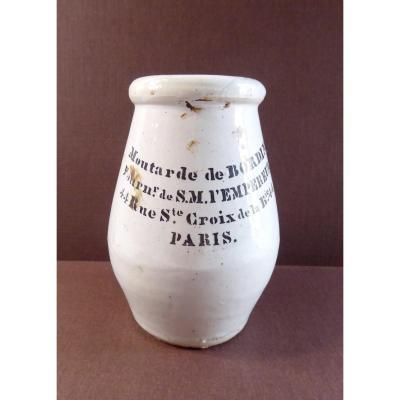 Moutarde Impériale, Pot De Chez Bordin, Paris, 1850
