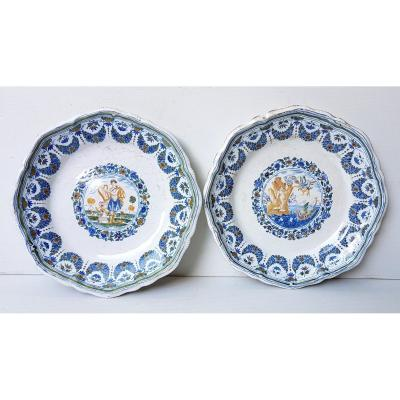 Pair Of Moustiers Style  Dishes, 19th, Polychrome Mythological Hand Painted Decor
