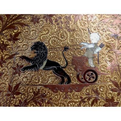 Art Nouveau: Marqueteries Métalliques de JP Kaiser, 2 plats
