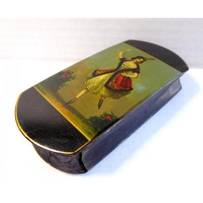 King Louis Philippe Miniature Lacquer Case: Dancer With Cigars