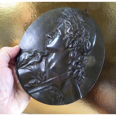Marianne, Bas Relief Ovale, Bronze du XIXe siècle