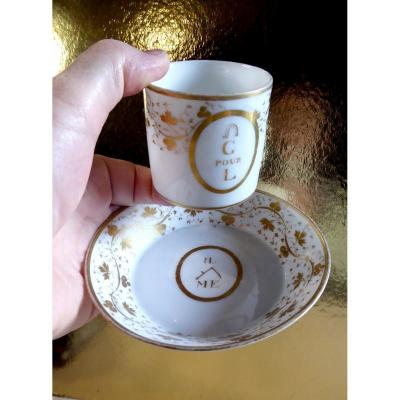 Paris Porcelain, Louis XVI Cup And Saucer Rébus For Love,  Signed