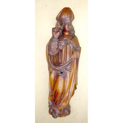 Boxwood Sculpture, St Eloi, 18thc Primitive