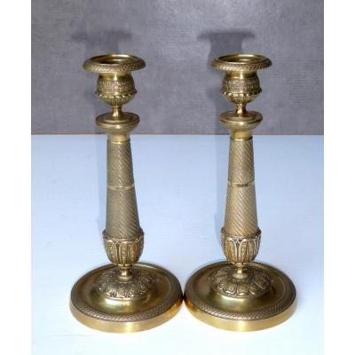 Pair Of Parisian Candlesticks, Circa 1820, Original Gilding