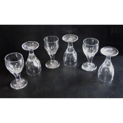 Suite De 6 Limpides Verres à Vin, Vers 1825, Cristal Soufflé-taillé