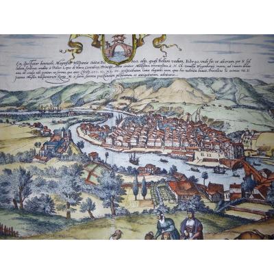 Basque Country: 1576. View Of Bilbao, Original Hand Colors!