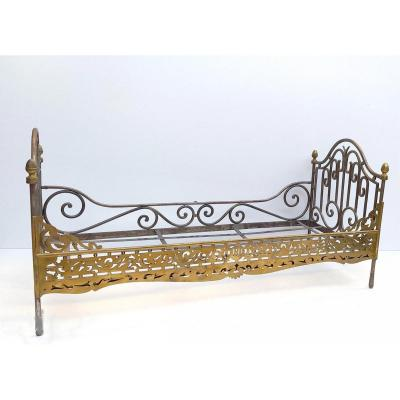 Maîtrise De Ferronnier, 1850: Small Iron And Brass Bed, Superb