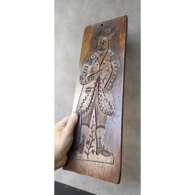 Large Carved Wood Mold For Festive Cookies, Flanders, 19th