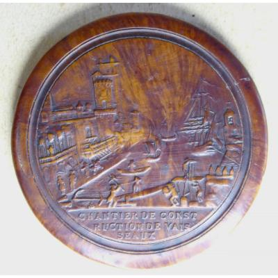 La Rochelle, Late 18th Century, Snuff Box , The Shipyard,  Pressed Wood