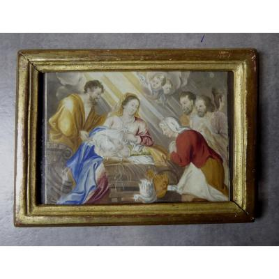 Nativity, 18th Century, Miniature Gouache On Parchment