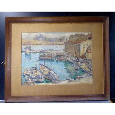 Marseille, Grande Aquarelle, l'Arsenal Et Bassin Des Galères, 1920