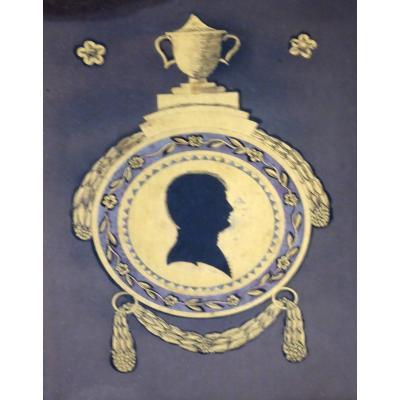 Portrait-silhouette églomisé d'Un Homme Jeune, époque 1er Empire