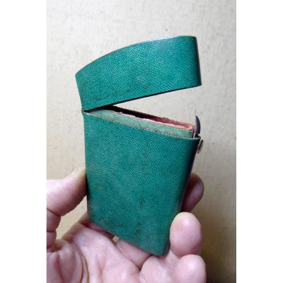 Green Shagreen Case, Pink Silk Inside, 18th Century, Good Condition