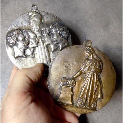David d'Angers: Ses 2 Medaillons De 1844: Les 4 Sergents De La Rochelle