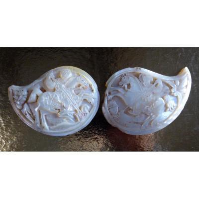 Ornements Chrétiens De Pafta, Nacre Sculptée, Balkans, 18 Ou 19e Siècle