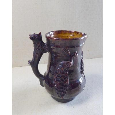 Small Animal Pitcher Armentières? Glazed Brown Earthenware