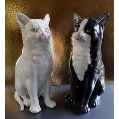 Paire De Chats Porcelaine Black And White, Taille Réelle