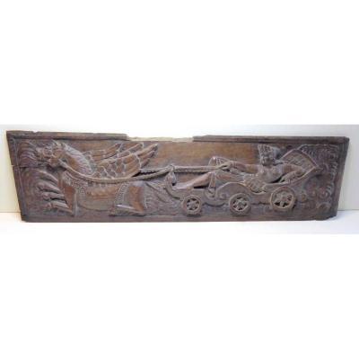 Panneau de chêne sculpté, XVIIe, vision Naïve du char des Dieux