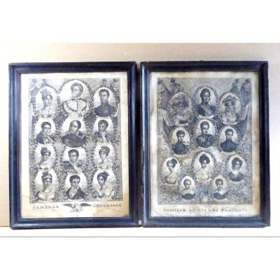 French Popular Political Art Ca.1840:  2 Families, Engravings