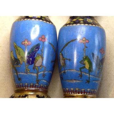 Japonisme: Vases Grenouilles, Cloisonnés Fils d'Argent, Vers 1880